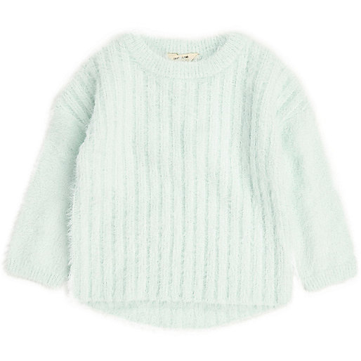 Mini girls green fluffy knit jumper