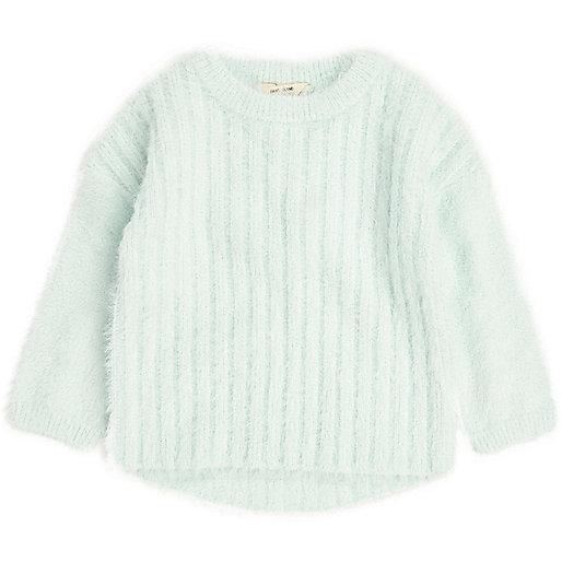 Mini girls green fluffy knit sweater