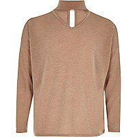 Girls beige slouch knit choker jumper