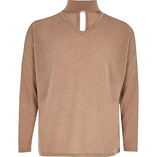 Girls beige slouch knit choker sweater