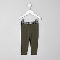 Mini girls khaki green branded leggings