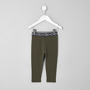 Mini girls khaki green branded leggings
