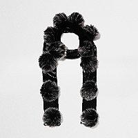 Girls black metallic knit pom pom scarf