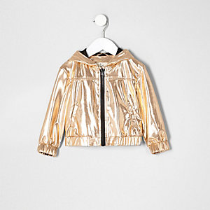 Mini girls gold metallic hooded bomber