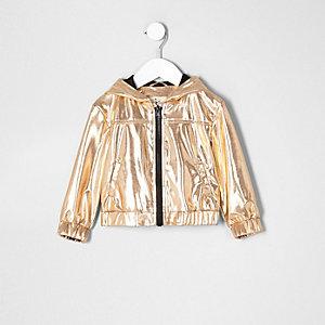 Mini girls gold metallic hooded bomber