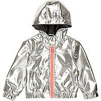Mini girls silver hooded bomber jacket