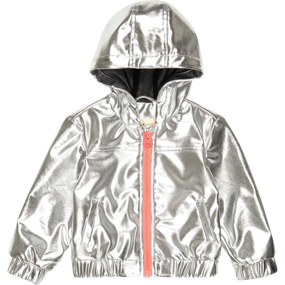 Mini girls silver hooded bomber jacket