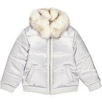 Mini girls silver puffer coat with faux fur