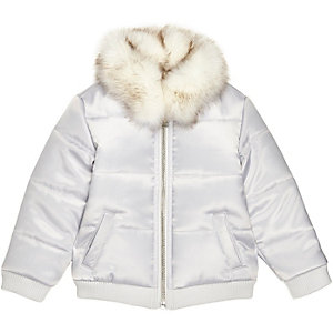 Mini girls silver puffer coat with faux fur