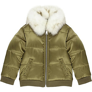 Mini girls khaki puffer coat with faux fur