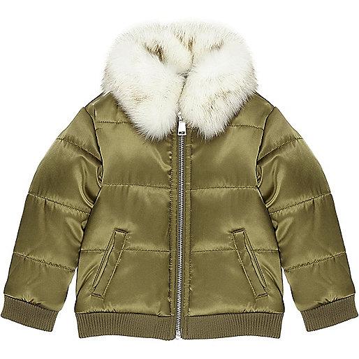 Mini girls khaki puffer coat with faux fur