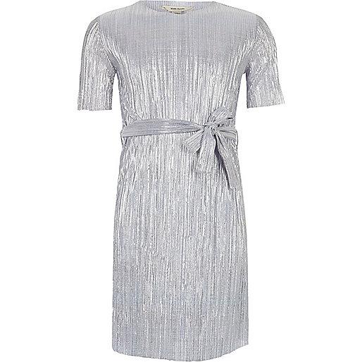 Girls metallic blue pleated dress with belt