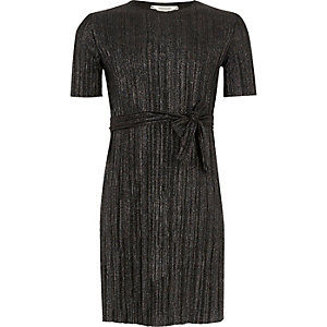 Girls metallic black pleated dress with belt