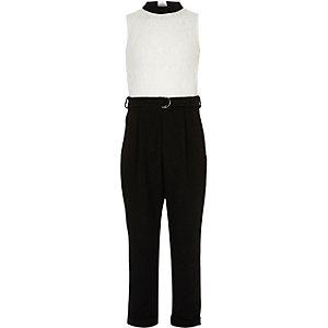 Zwart-witte jumpsuit met kant en blokken voor meisjes