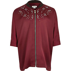 Girls burgundy embellished zip shirt