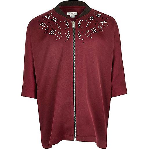 Girls burgundy embellished zip shirt
