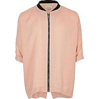 Girls pink zip bomber shirt