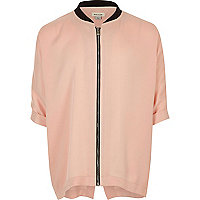 Chemise rose zippée style bomber pour fille