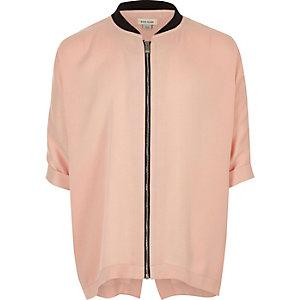 Chemise rose zippée style bomber pour fille