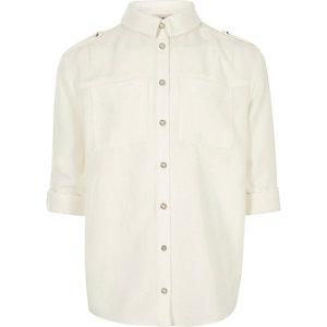 Crème overhemd in legerlook voor meisjes