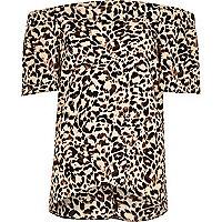 Top style Bardot marron à imprimé léopard pour fille