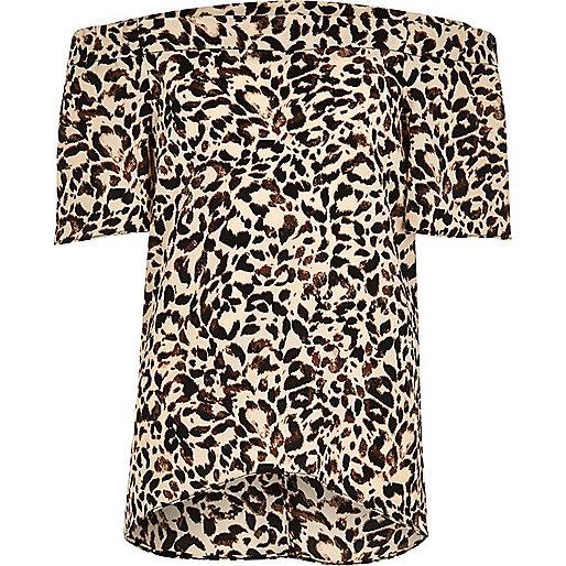 Girls brown leopard print bardot top