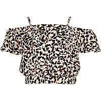 Girls leopard print bardot ruffle crop top