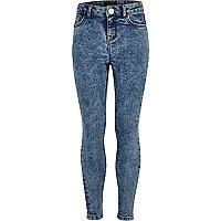 Girls blue acid wash skinny amelie jeans