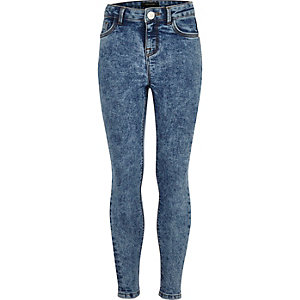 Girls blue acid wash skinny amelie jeans