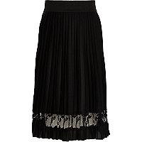 Girls black pleated lace panel midi skirt