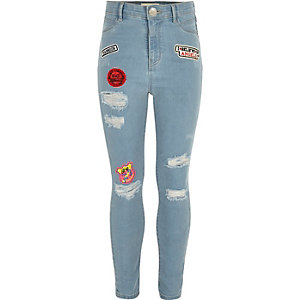 Girls light blue badge rip molly jeggings