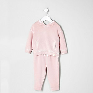 Mini girls pink hoodie and jogger set