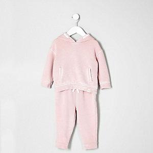 Ensemble pantalon de jogging et sweat rose à capuche mini fille