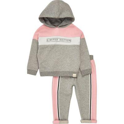 Mini grijze hoodie met kleurvlakken en joggingbroek voor meisjes