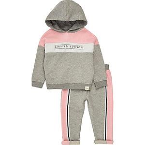 Ensemble pantalon de jogging et sweat gris effet colour block à capuche mini fille
