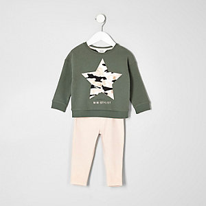 Mini girls khaki pink jumper and jeggings set