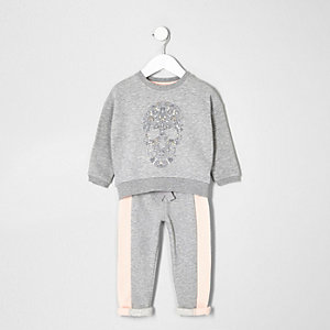 Mini girls grey skull sweater and joggers