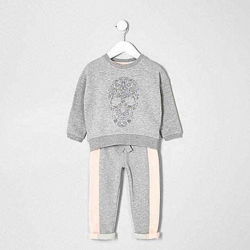 Mini girls grey skull sweater and joggers set
