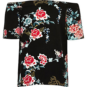 Girls black floral print bardot top