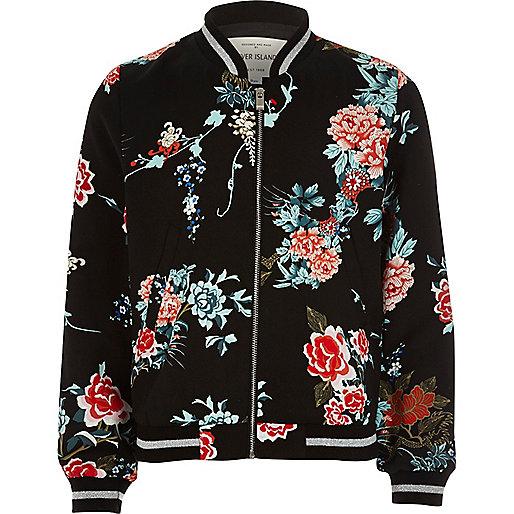 Girls black oriental floral bomber jacket