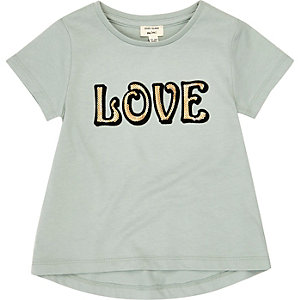 Mini girls mint green 'Love' print T-shirt