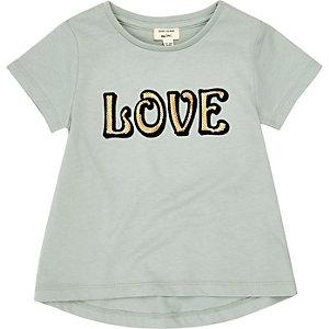 Mini girls mint green 'Love' print T-shirt