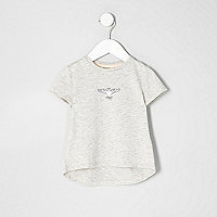 Mini girls grey wing print T-shirt