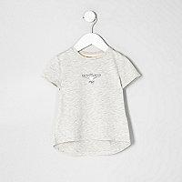 T-shirt motif ailes d'ange à clous gris mini fille