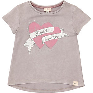 Mini girls grey heartbreaker print T-shirt