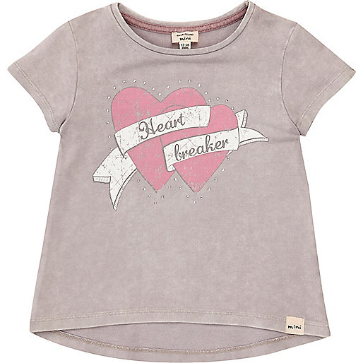 Mini girls grey heartbreaker print T-shirt