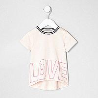 Mini girls light pink 'love' print T-shirt