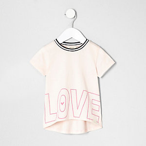 Mini girls light pink 'love' print T-shirt