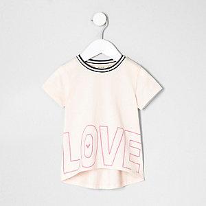 Mini girls light pink love T-shirt