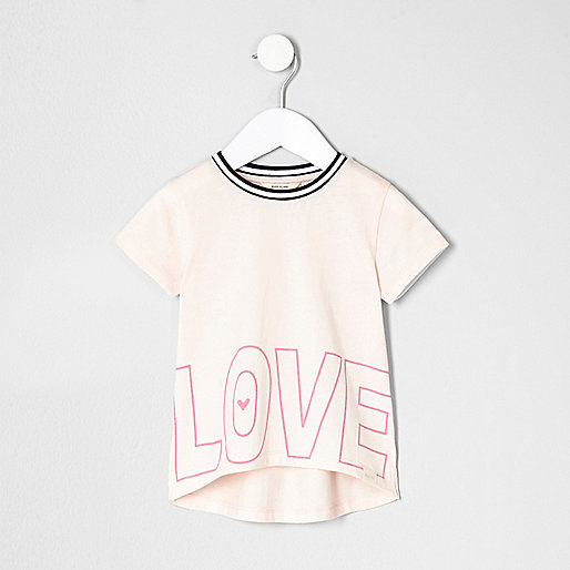Mini girls light pink love T-shirt
